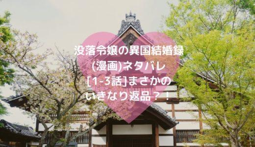 没落令嬢の異国結婚録(漫画)ネタバレ[1-3話]まさかのいきなり返品?!
